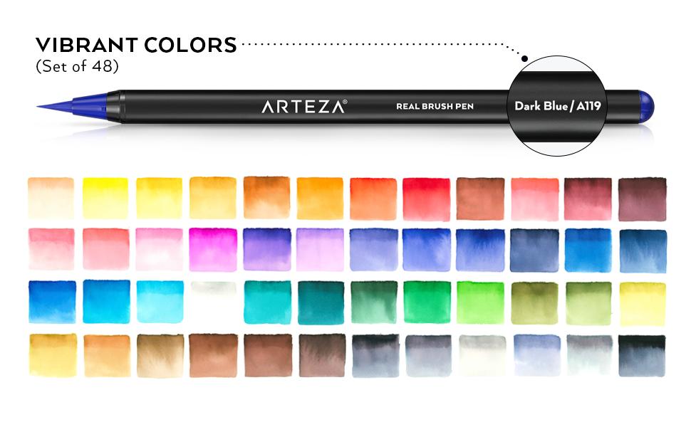 Real Brush Pens 48, Watercolor Pads, Water Brush Pens Arteza Watercolor Bundle