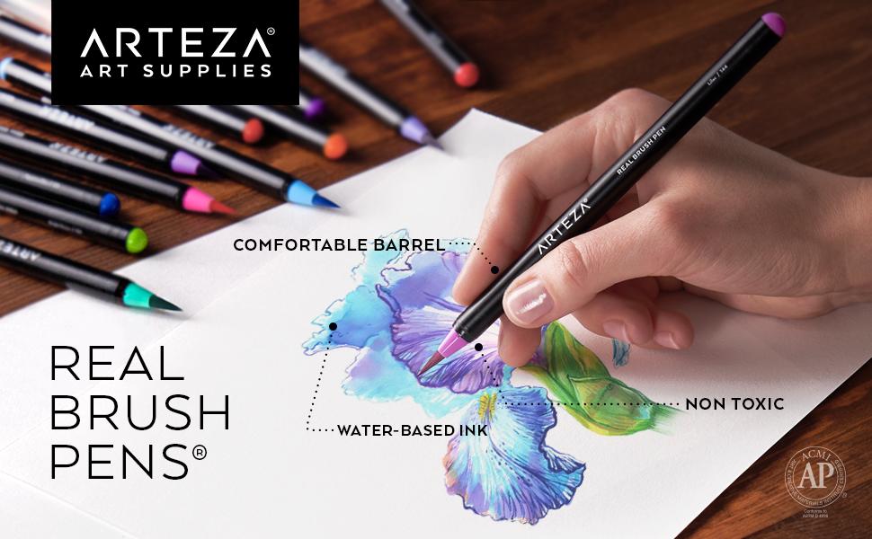 Amazon Com Arteza Real Brush Pens 24 Colors For Watercolor