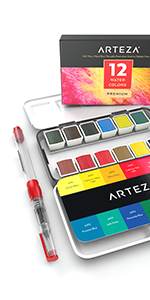 Watercolor Paint, Set of 12 Assorted Vibrant Colors in Half Pans
