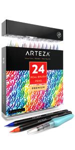 Véritable ARTEZA Brosse Stylos Lot de 48 paintmarkers avec flexiblebrush ConseilsProfesional