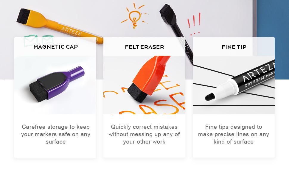 Dry-Erase-Markers-Fine-Tip-in-Black-with-Magnetic-Eraser-Cap---Set-of-36