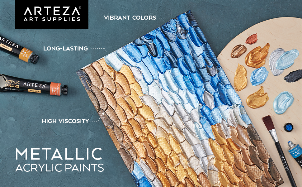 Arteza Acrylic Paint Metallic 12 colors