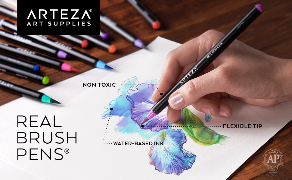 Amazon.com : Arteza Real Brush Pens, 12 Paint Markers with