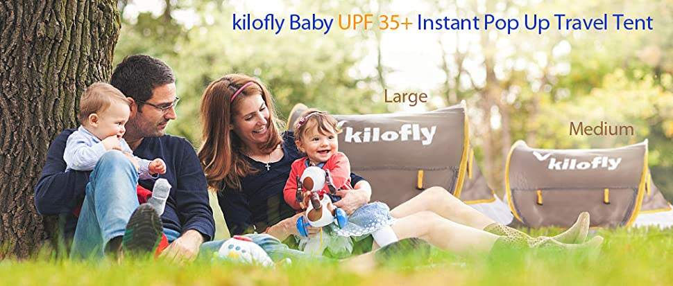 kilofly Baby Toddler Instant Pop Up Portable UPF 35 2 Pegs Travel Beach Tent