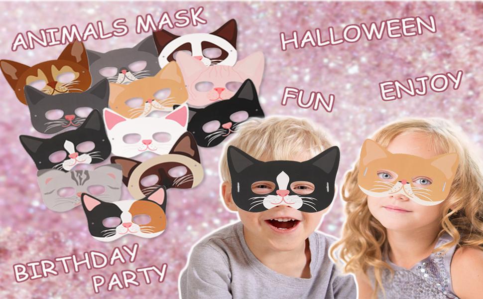 Standie 35+5 PCS Black Felt Mask Set for Kids Party Cosplay