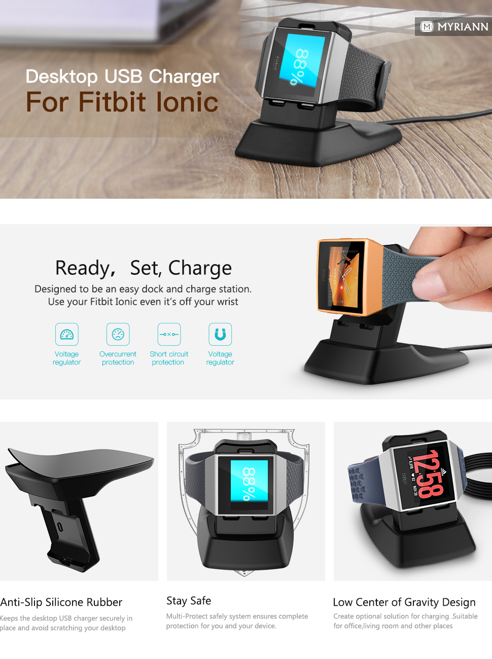 Fitbit Ionic Charger Xms471 Myriann Charging Stand Adidas Specially Designed Fully Fits Your 2017 Released Edition 2018