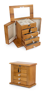 Real Natural Hardwood Wooden Jewelry Box WJC5AK