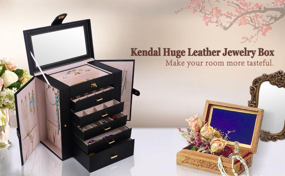 Amazoncom Kendal Huge Leather Jewelry BoxCaseStorage LJCSHD5BK