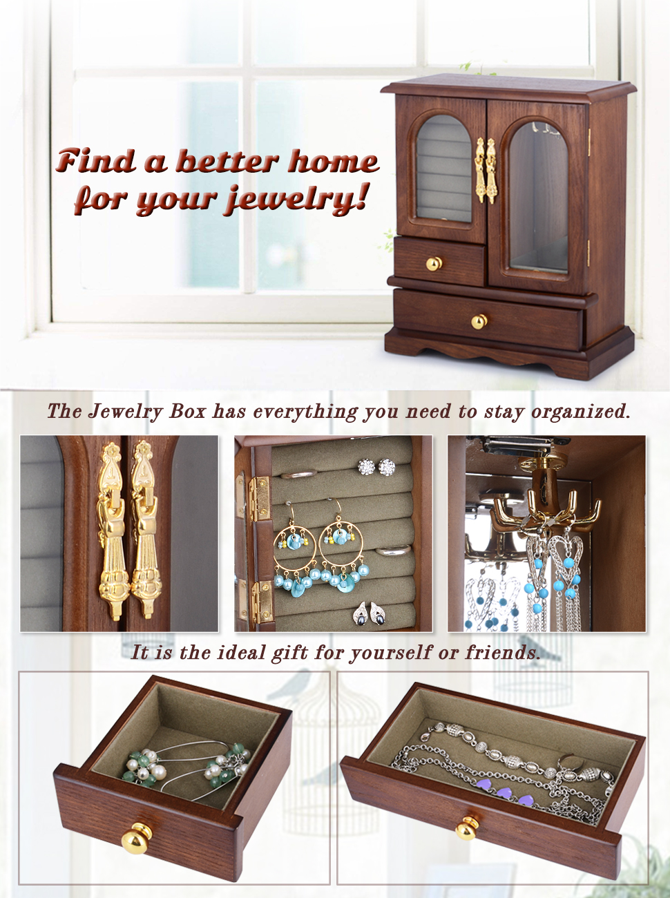 Amazon kendal real natural hardwood wooden jewelry box kendal real natural wooden jewelry box solutioingenieria Choice Image