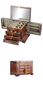 Kendal Hardwood Large Wooden Jewelry Box Organizer with Mirror and Lock WJC03HT