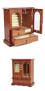 Real Natural Hardwood Wooden Jewelry Box Organizer WJC02AK