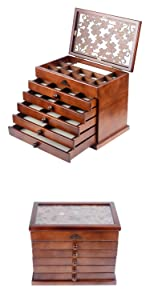 Real Wood/Wooden Jewelry Box Case (Dark Brown)