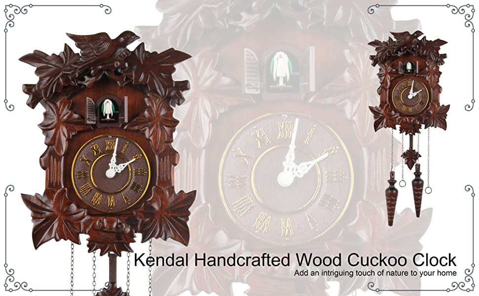 Wall Clock Deer Dancers and Crafted Wood Antique Modern Home Decor Music New
