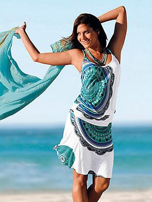 beach dresses summer casual women cotton print floral midi
