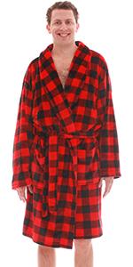 Mens Robe Robes shawl collar velour cozy bathrobe bath robe plush buffalo plaid red and black lumber