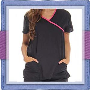 mock wrap scrub contrast trim v neck medical scrub nurses uniform