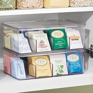 pantry morning tea bags black green lemon earl grey shelf organize bin lid box