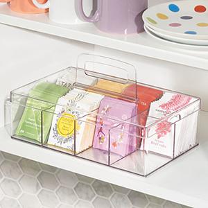 handle carry tea bags green black lemon earl grey organize pantry shelf morning