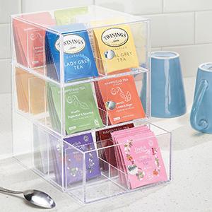 drawers dividers tea bags black green earl grey organize counter pantry lemon hibiscus