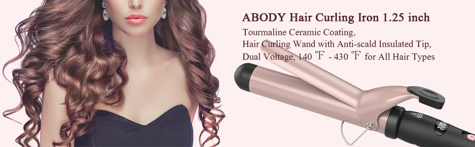Abody 1.25inch hair curling iron, Professional Curling Wand Hair Curler Ceramic Barrel with a Heat Protective...