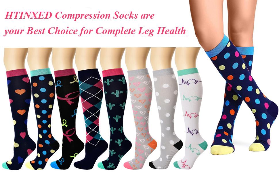 Graduated Compression Socks Women Men 20-30mmHg Knee High Plus Size Wide Calf for Nurse