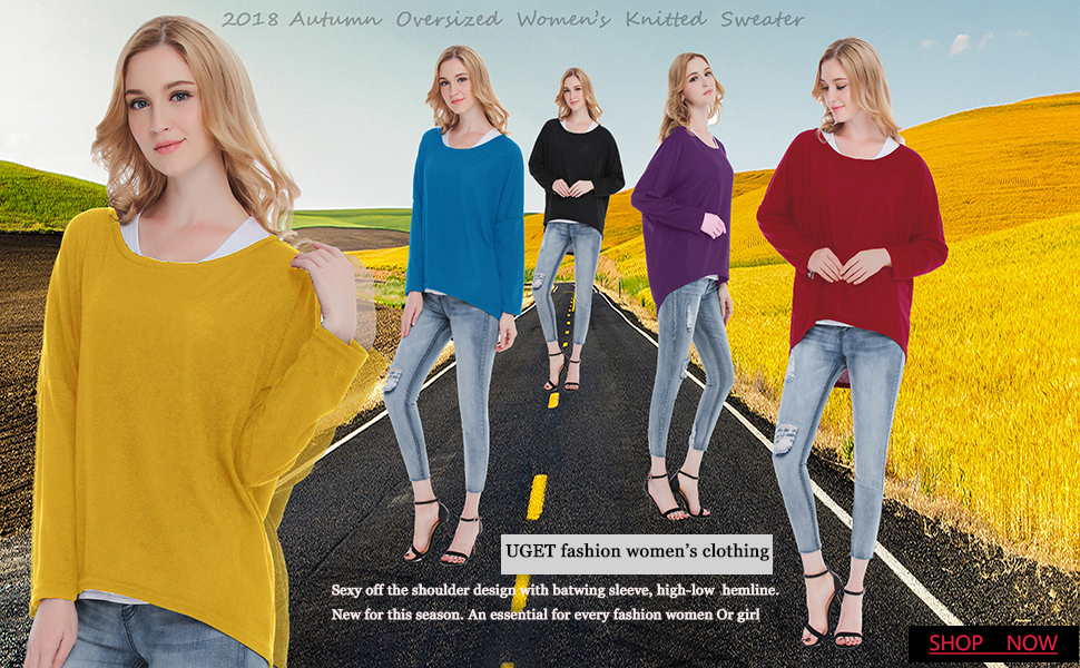 4c9c9d31a12 UGET Women s Sweater Casual Oversized Baggy Off-Shoulder Shirts Batwing  Sleeve Pullover Shirts Tops