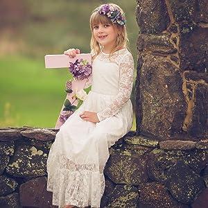 d07c744e8a2 Amazon.com  Fancy Ivory White Lace Flower Girl Dress Boho Rustic ...