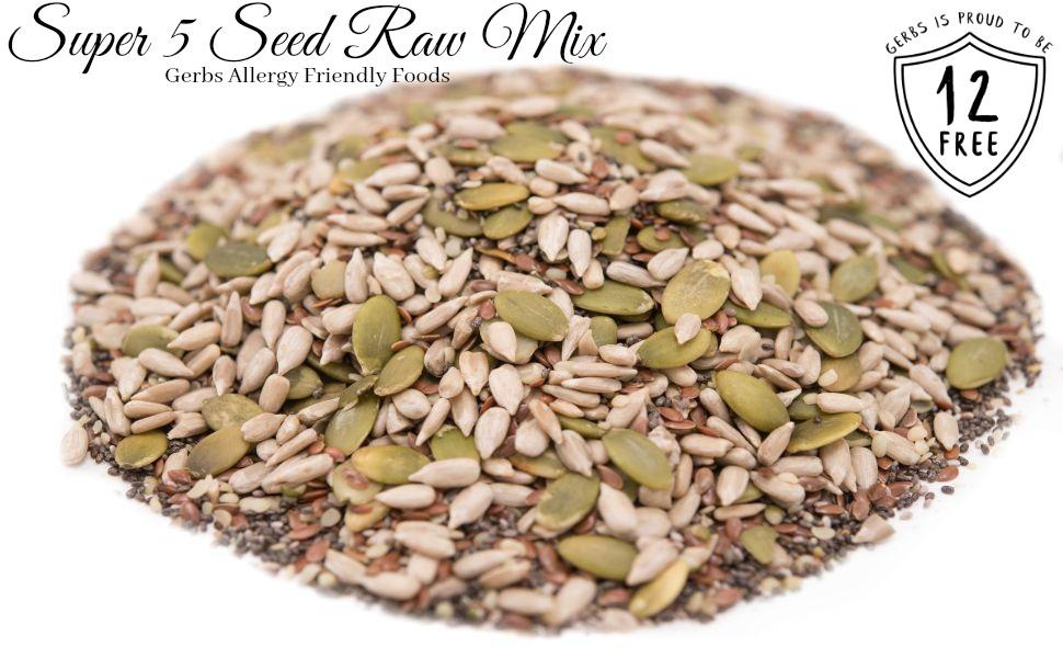 Health Benefits of Gerbs pumpkin, sunflower, chia, flax, and hemp seed raw mix.