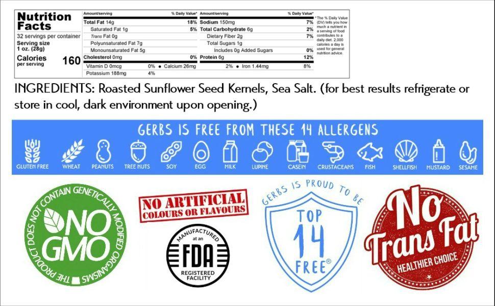 Nutritional Information Panel Ingredients Gerbs Lightly Sea Salted Sunflower Seeds Kernels 2 Pound