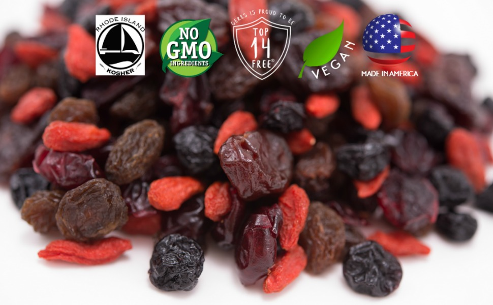 Gerbs Super 5 Dried Fruit Mix Unsulfured, No preservatives Free from Top 14 Common Food Allergies
