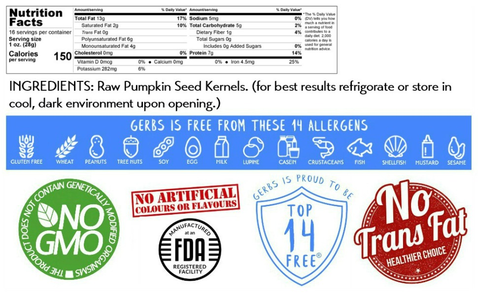 nutritional information ingredients gerbs raw pumpkin seed kernels 1 pound bag