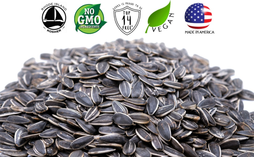 Gerbs Raw Whole Sunflower Seeds In-Shell - 2 Pounds Re-Sealable Bag