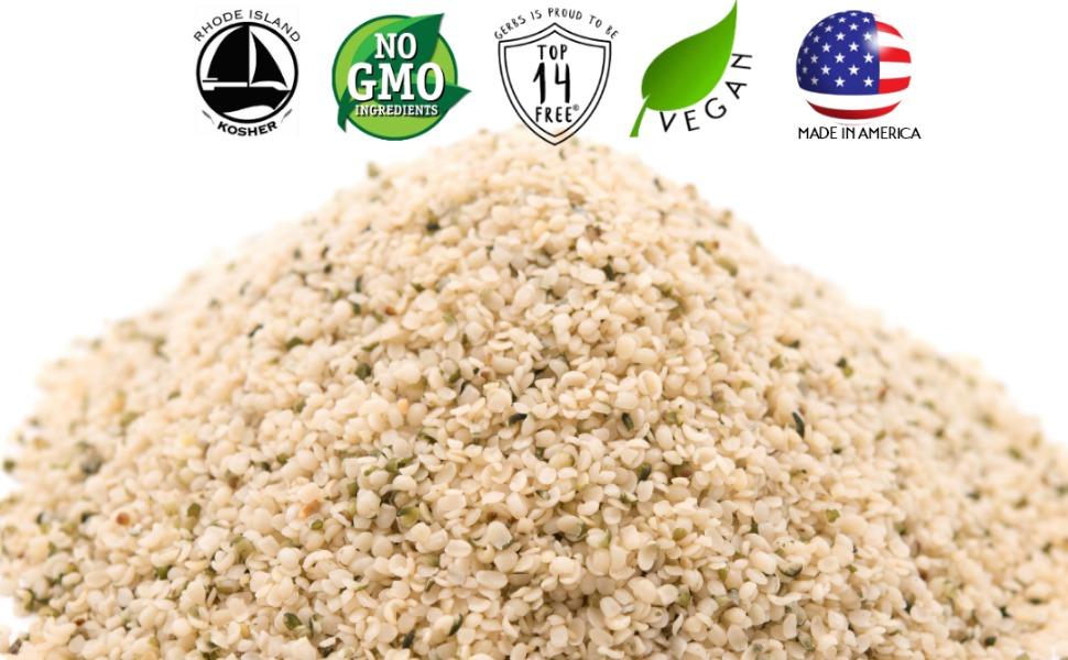 gerbs raw hemp seeds kernels non gmo vegan kosher superfoods all natural organic nothing artificial