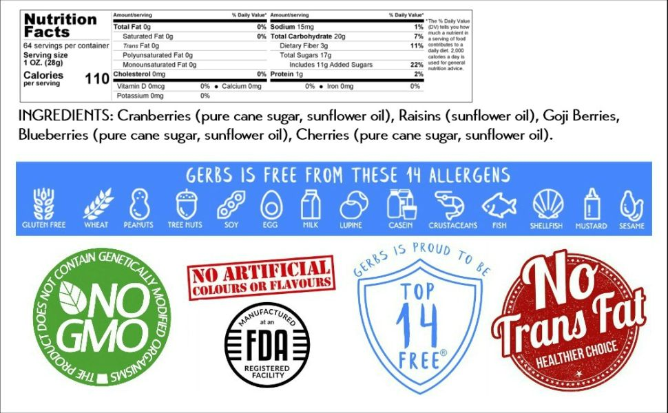 Nutritional Panel, Information Ingredients Gerbs Super 5 Dried Fruit Mix 4 Pound Serving Size