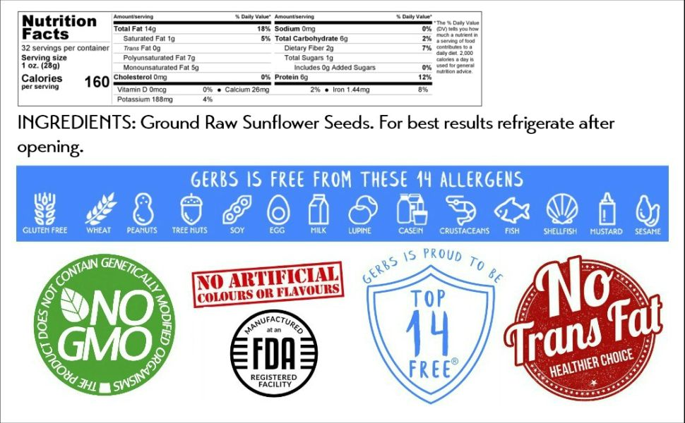 Nutritional Information Panel Information Gerbs Sunflower Seed Meal Ground 2 Pound Serving Size