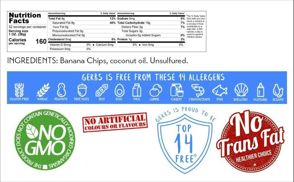 Amazon.com : Gerbs Banana Chips Unsweetened, 2 LBS
