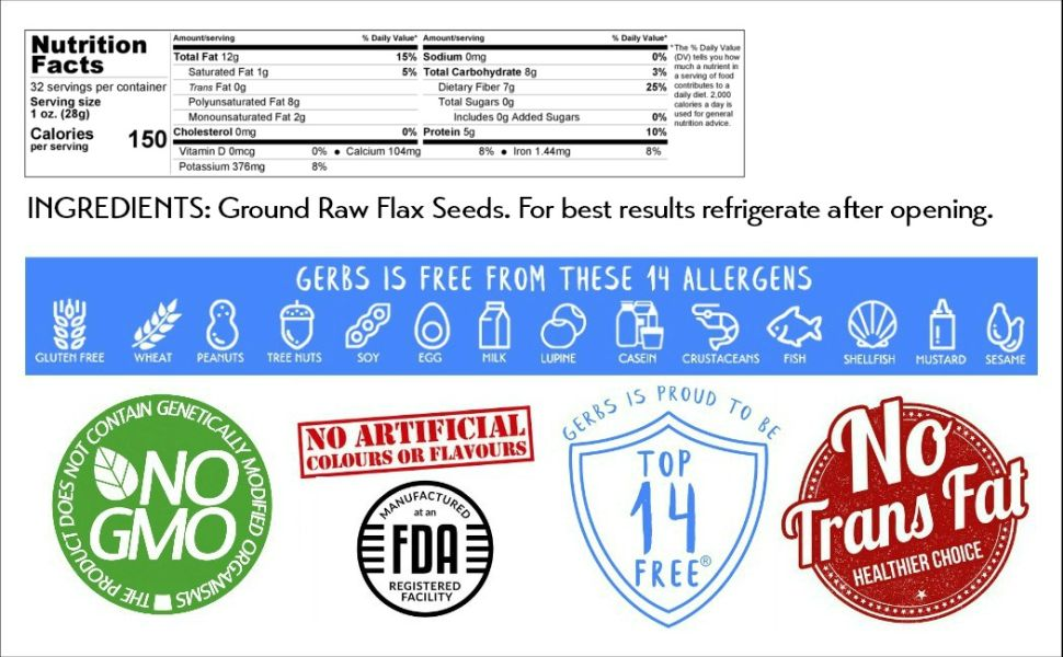 Nutritional Information Panel Ingredients Gerbs Ground Raw Flax Seed Meal 2 Pound Serving Size