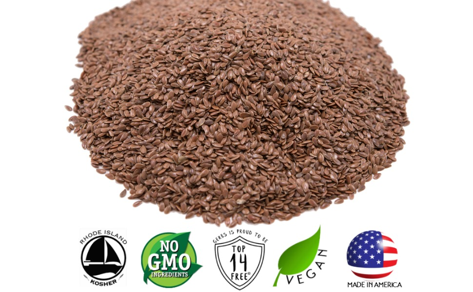 Gerbs Raw Brown Flax Seeds, 1 LBS - Top 14 Food Allergen Free & Non GMO - Vegan, Keto Safe & Kosher