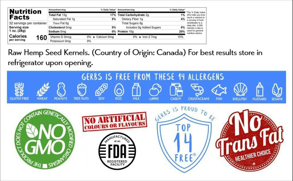 Nutritional Information Panel Ingredients Gerbs Raw Hemp Seeds Kernels 2 Pound Serving Size