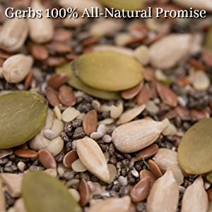 Gerbs super 5 seed raw mix is non gmo, organic, and preservative free.