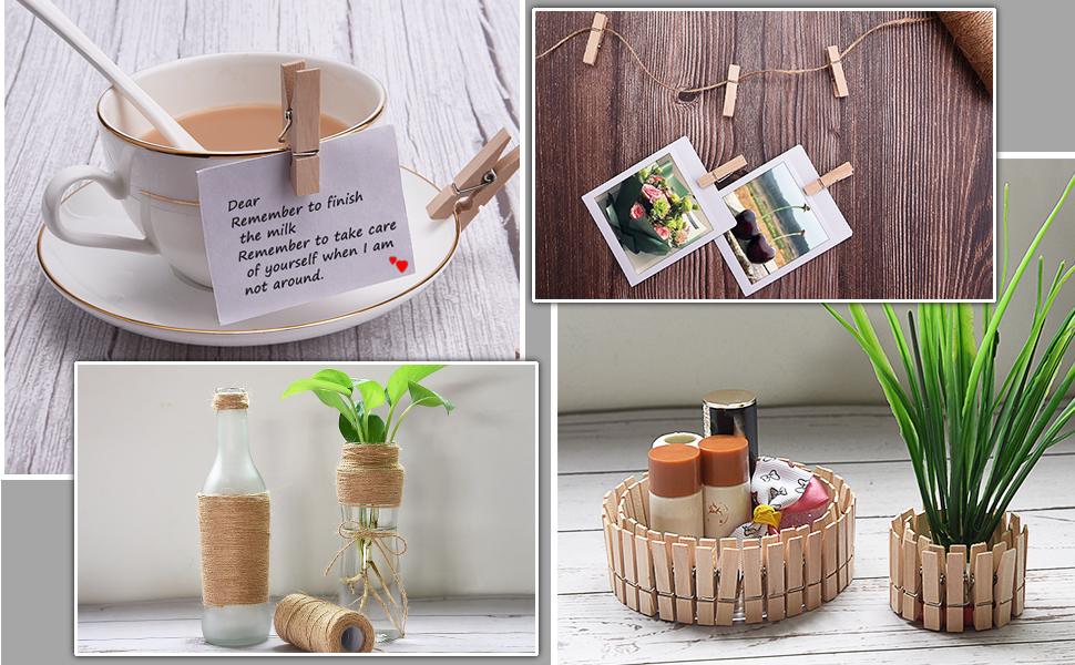 100 pieces wooden clips pegs with jute twine