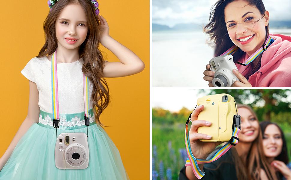 rainbow colorful camera strap