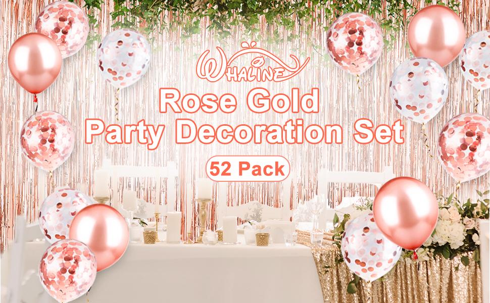 Amazon.com: Whaline - Set de fiesta de oro rosa y globos de ...