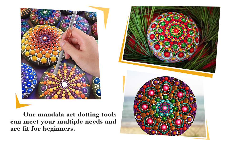 Whaline Mandala Art Dotting Tools 18 Set Including 4 Mandala Stencils, 8 x  Acrylic Rods, Paint Tray and 5 Double Sided Dotting Tools