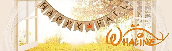 Whaline Happy Fall Pumpkin Burlap Banner Harvest Home Decor Bunting Flag Garland