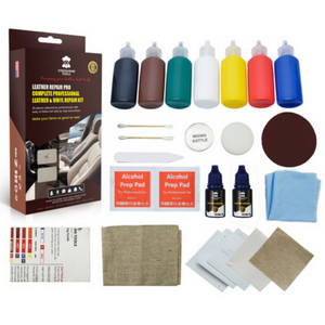 full comprehensive, paint, adhesive, backing fabric, instructions, sandpaper wipes, cloth
