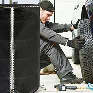 Diameter 28-inch,Black Coated Mr.You Large Tire Cover,Tire Storage Bag /& Seasonal Tire Cover,Waterproof Dust-Proof