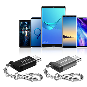 Micro USB to USB C Adapter (6 Pack),Basesailor Type C Keychain Charger, Compatible Samsung Galaxy S10 S9 S8 Plus S10E Note 9 8 10,Google Pixel 2 3 3A ...