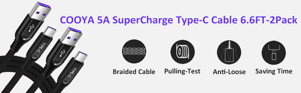 COOYA for Huawei SuperCharge USB C Cable 6.6FT