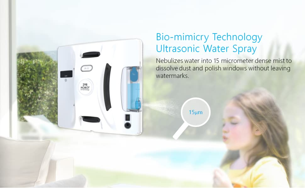 hobot, hobot298, window cleaning robot, water spray
